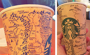 Guy Spends 5 Hours Drawing Detailed Map of Middle-Earth From Lord of the Rings On A Starbucks Coffee Cup