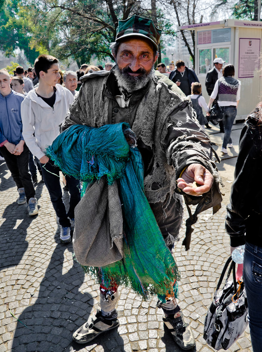 Homeless Man On The Day Of The Summer Festival, Tirana, Albania.