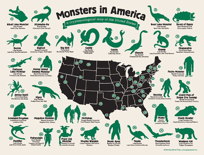 My Map Shows Where Legendary Monsters Hide In America
