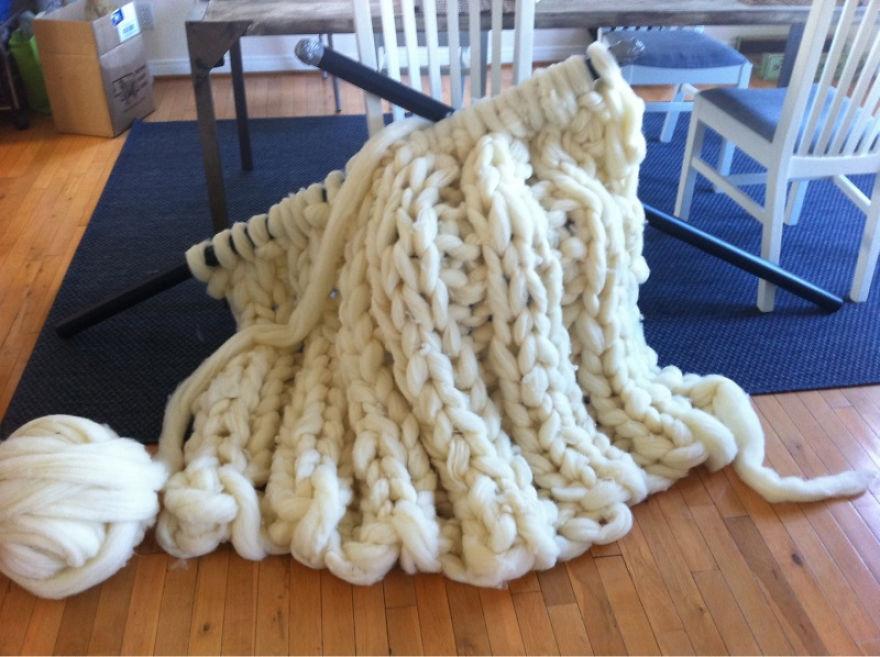 No, I'm Not Thumbelina. I Just Knit With Giant Needles And Yarn