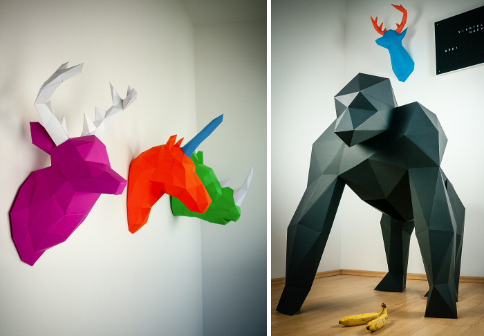 Papertrophy: Precut Paper Sculptures That You Can Print And Fold Yourself