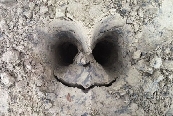 Buried A Friend Knee Deep In Sand. When He Stepped Out, The Sand Cracked And Made This