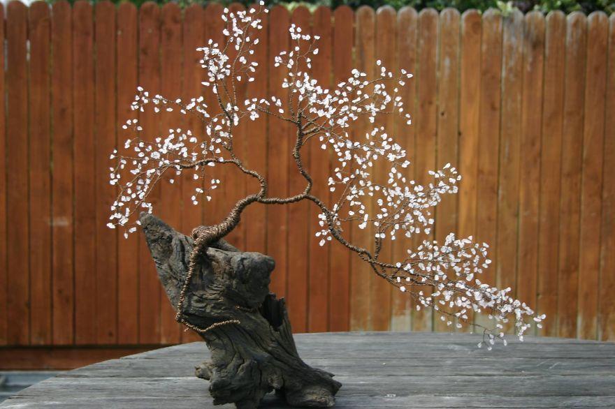 Sakura Bonsai - Copper Wire, Rose-quartz & Bog Oak