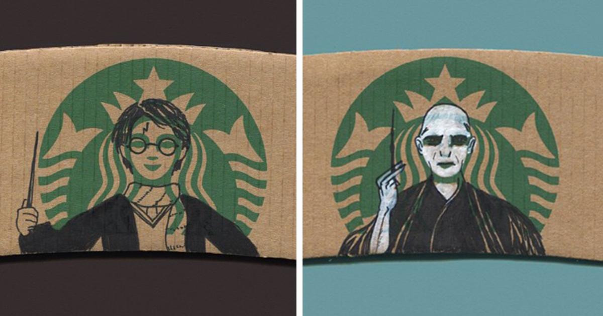 this instagrammer turns starbucks coffee sleeves into art bored panda