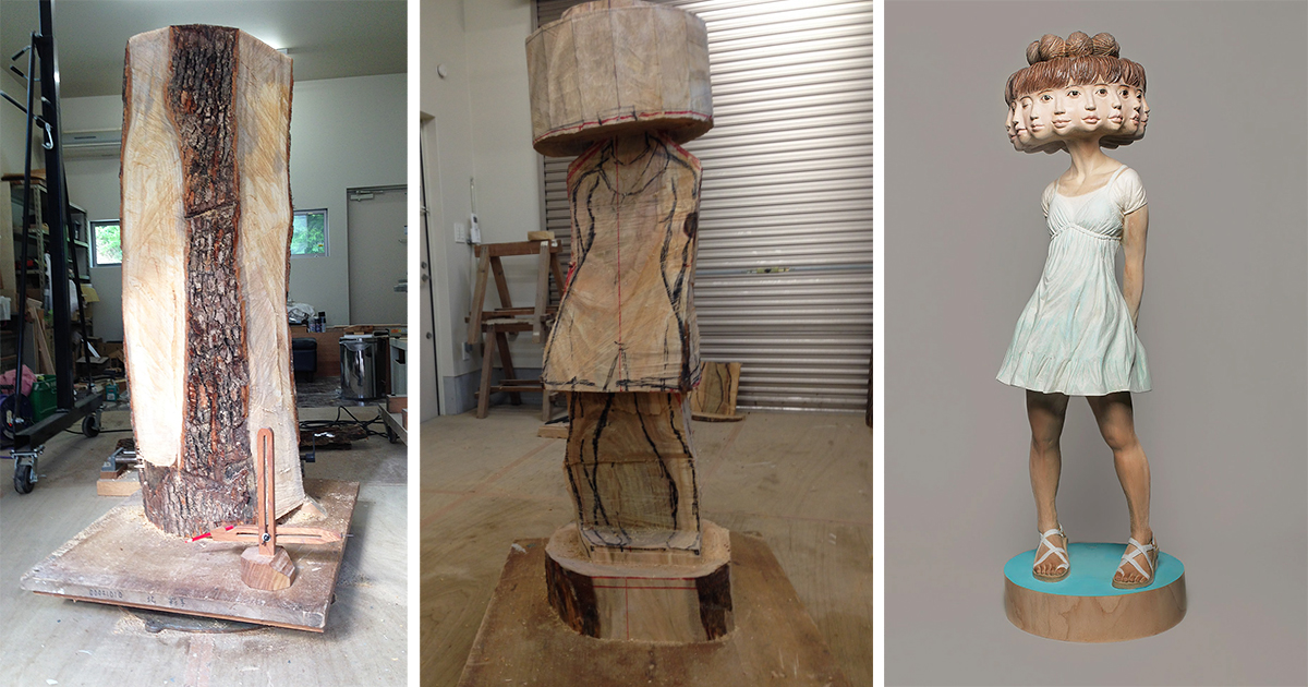 Japanese Sculptor Shows How He Transforms Wood Into