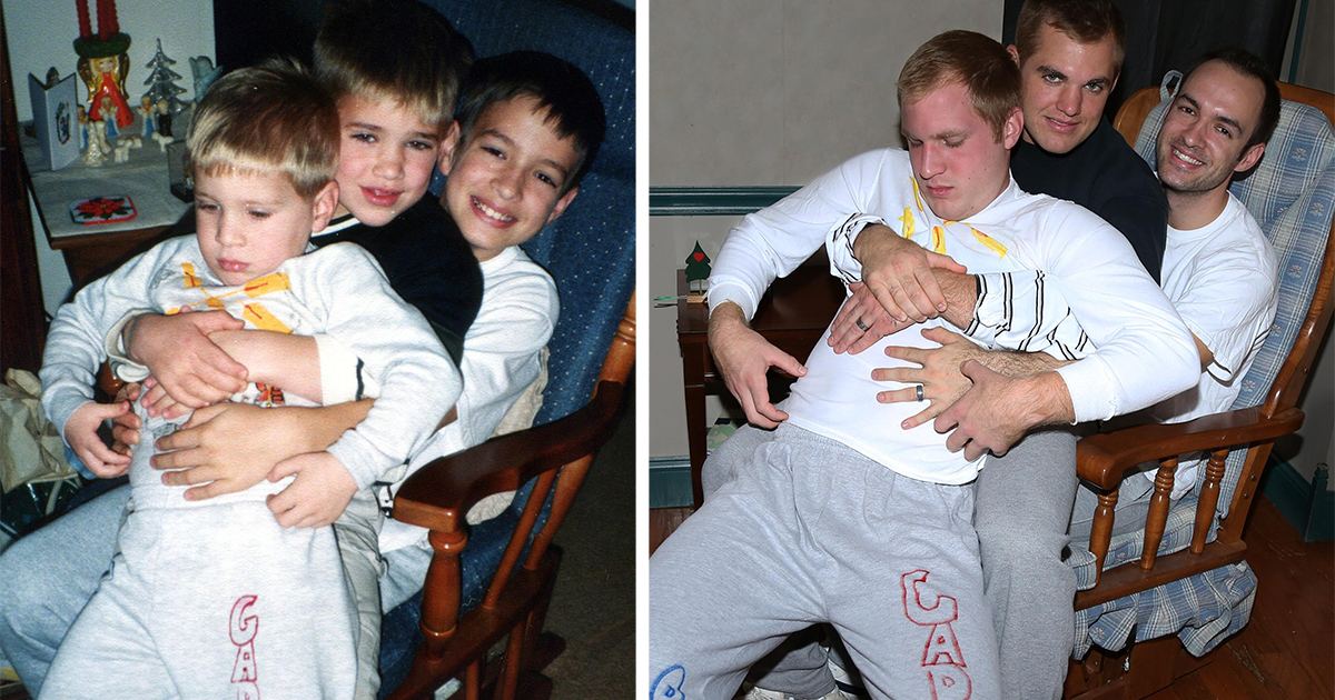 Three Brothers Recreate Their Weirdest Childhood Photos As A Gift ...