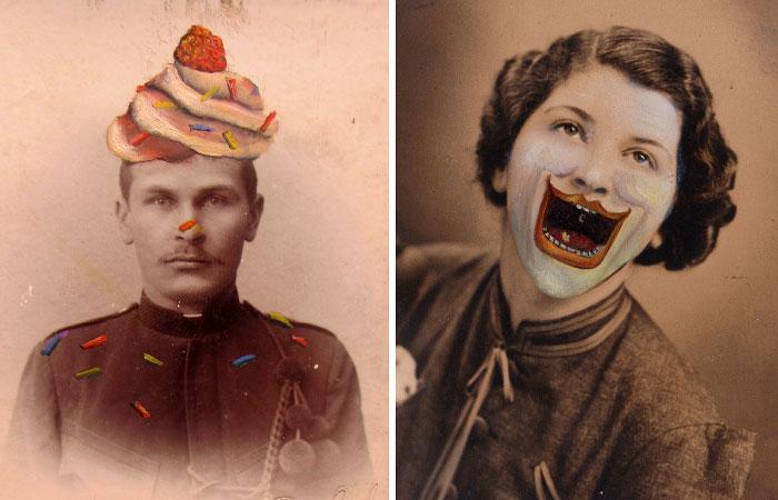 Ordinary Vintage Portraits Get Quirky Makeover By Jana Palečková