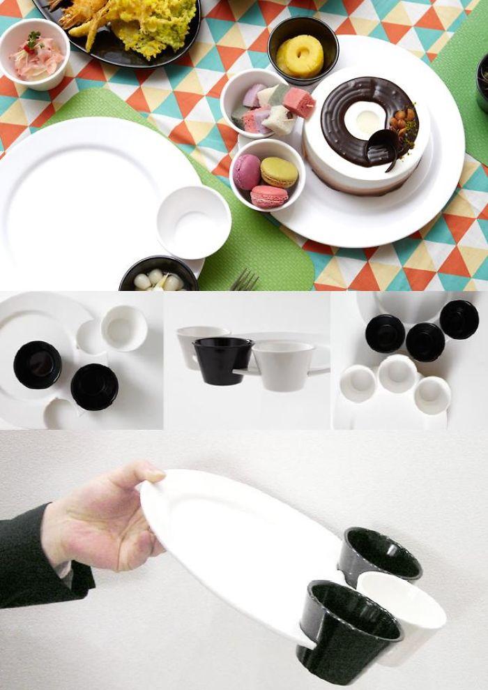 Cute Bear Foot Plate (1plate + 3small Bowl)