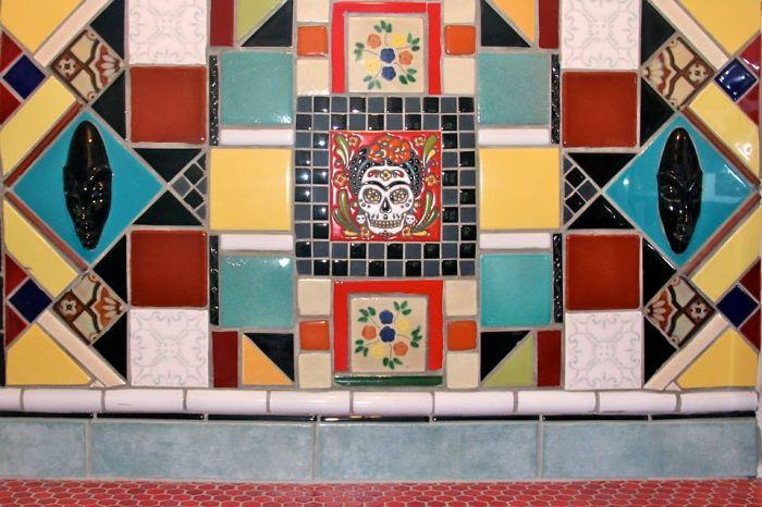 """Mexican Art Deco Inspired Kitchen Tile Backsplash By Farin """"mema"""" Greer Of Villagemuse.org"""