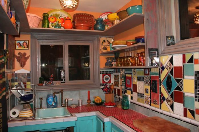 Mexican Inspired Tiled Kitchen In Tiny House