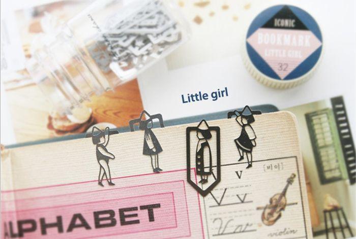 Little Girl Paper Clips Cartoon Bookmark