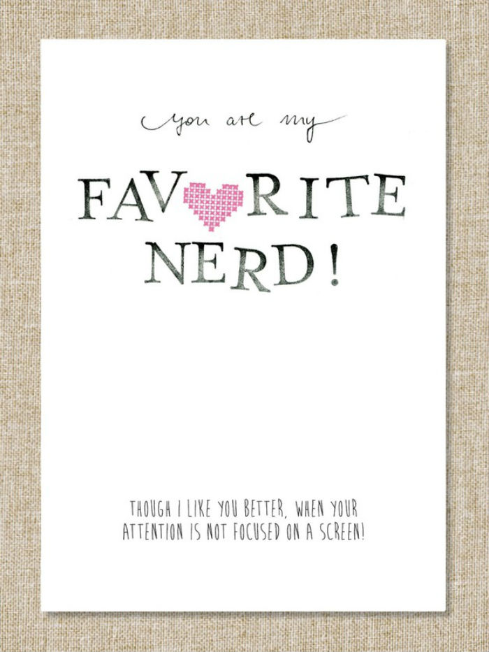 "Valentine's Day Card ""you Are My Favorite Nerd"""