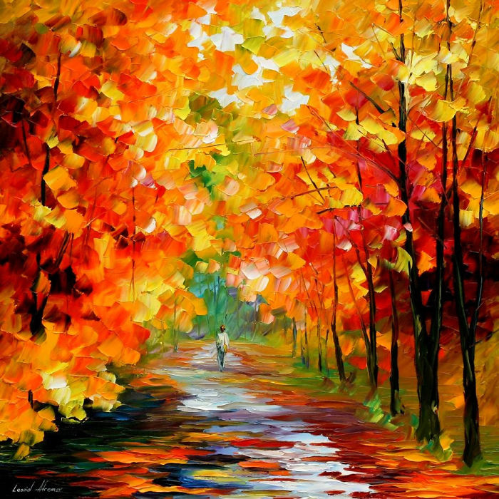 Gold Expanse — Palette Knife Contemporary Art Oil Painting On Canvas By Leonid Afremov