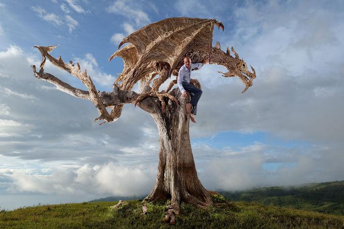 Breathtaking Driftwood Wyvern (dragon) By Sculptor James Doran-webb