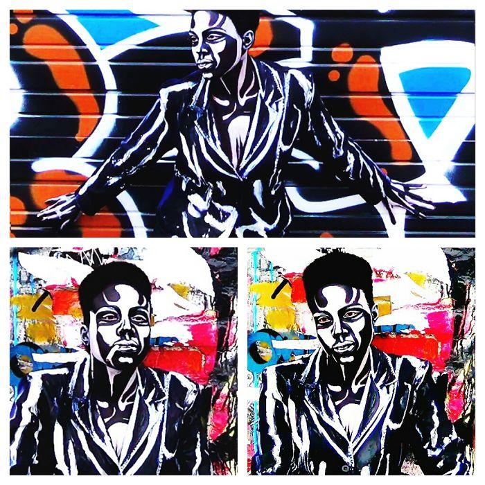 A Real Person Transformed Into A 2d Graffiti Art Stencil