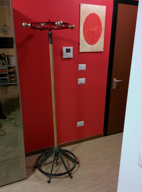 Coat Hanger Made With Two Bike's Wheels