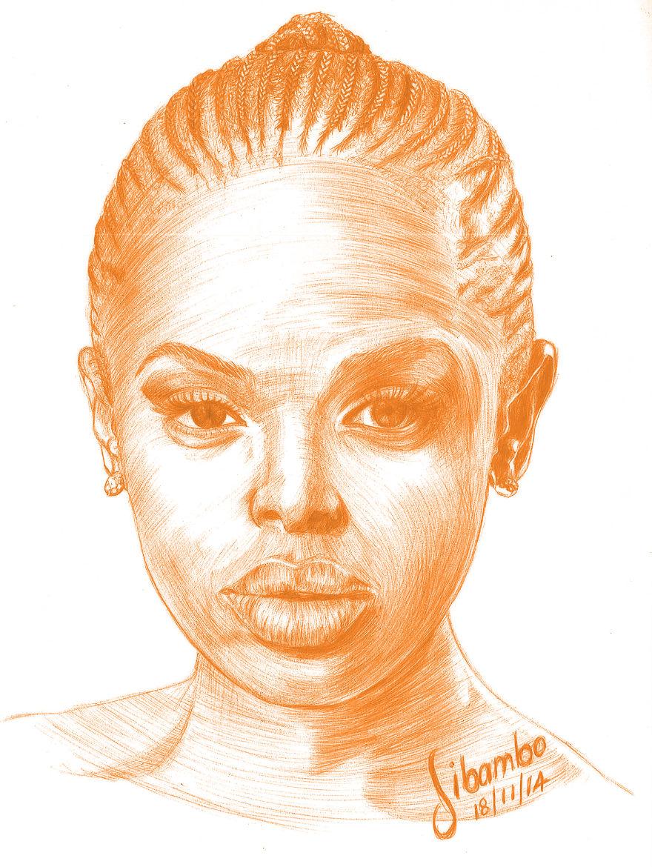 Unathi Msengana, Orange Ballpoint Pen By Sibambo Portraits