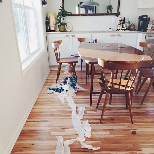 Some Mornings You're Just Too Tired To Stop Your Kid From TPing The Dining Room