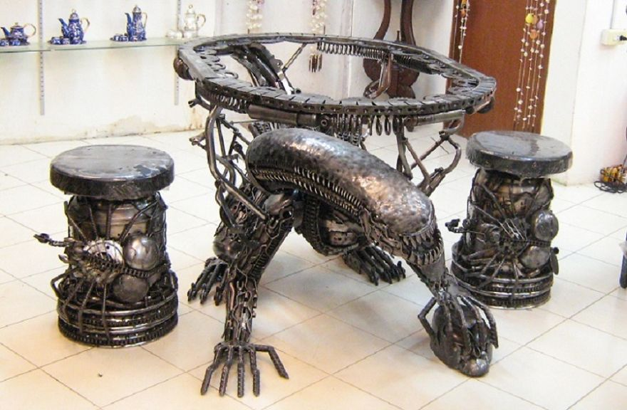 Alien Table, Life Size, By Scrap Metal Art Thailand