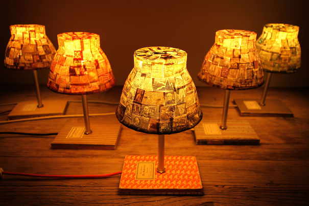 Bedtime Stories: Nightstand Lamps Made Out Of Vintage Stamps And Books