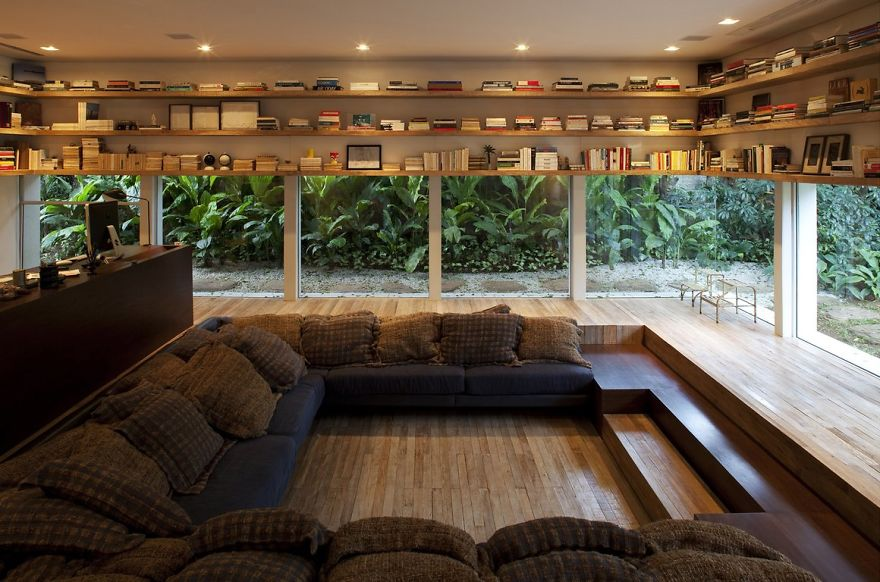 1 Lowered Reading Room With Glass Walls