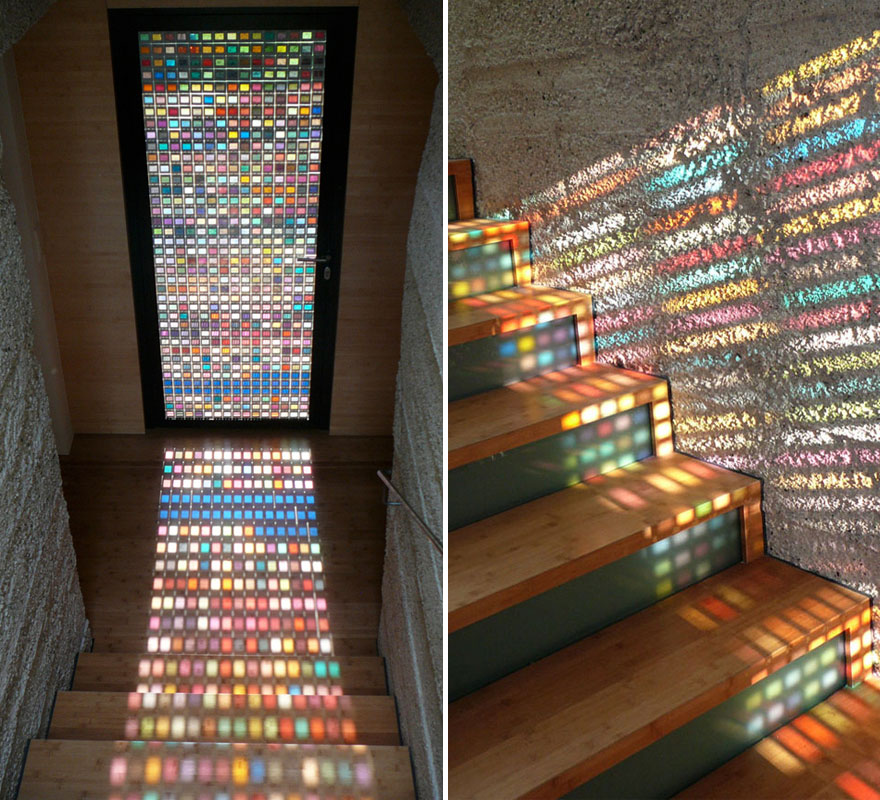 Amazing Interior Design Ideas For Home: Stained-Glass Door Made Of Pantone Swatches
