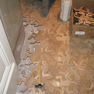 M.C. Escher-Inspired Interlocking Wooden Floor
