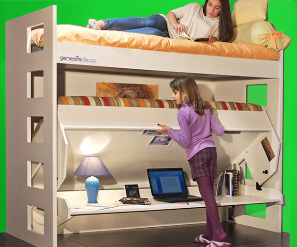 Bunk Bed That Converts Quickly And Easily Into A Large Desk