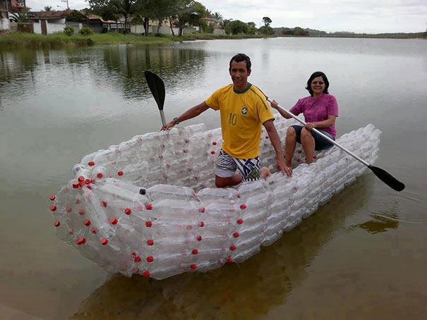 A Boat Made From Soda Bottles