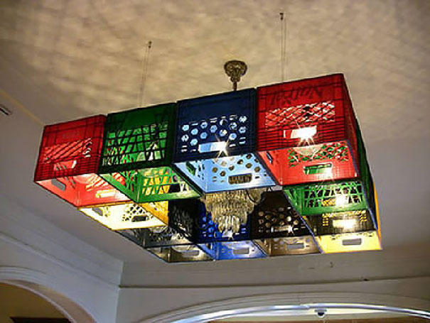 Chandelier Made From Milk Crates