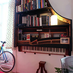 Old Piano Turned Into Bookshelf