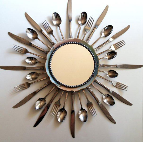 Old Cutlery Turned Into A Sunburst Mirror