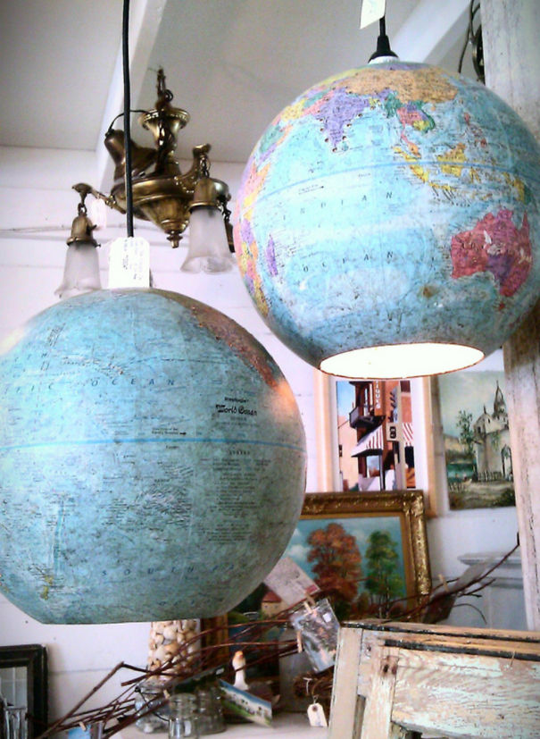 Globes Turned Into Lamps