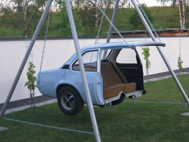 Car Turned Into A Swing