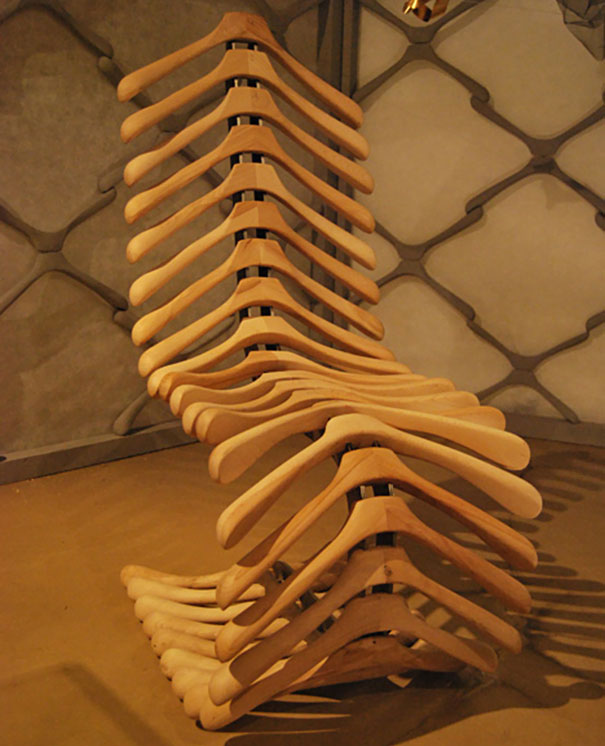 Coat Hangers Turned Into A Chair