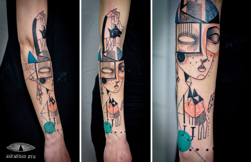 artist duo creates surreal cubist tattoos based on clients stories bored panda. Black Bedroom Furniture Sets. Home Design Ideas