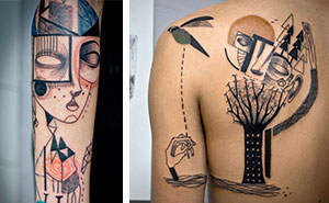 Artist Duo Creates Surreal Cubist Tattoos Based On Clients' Stories