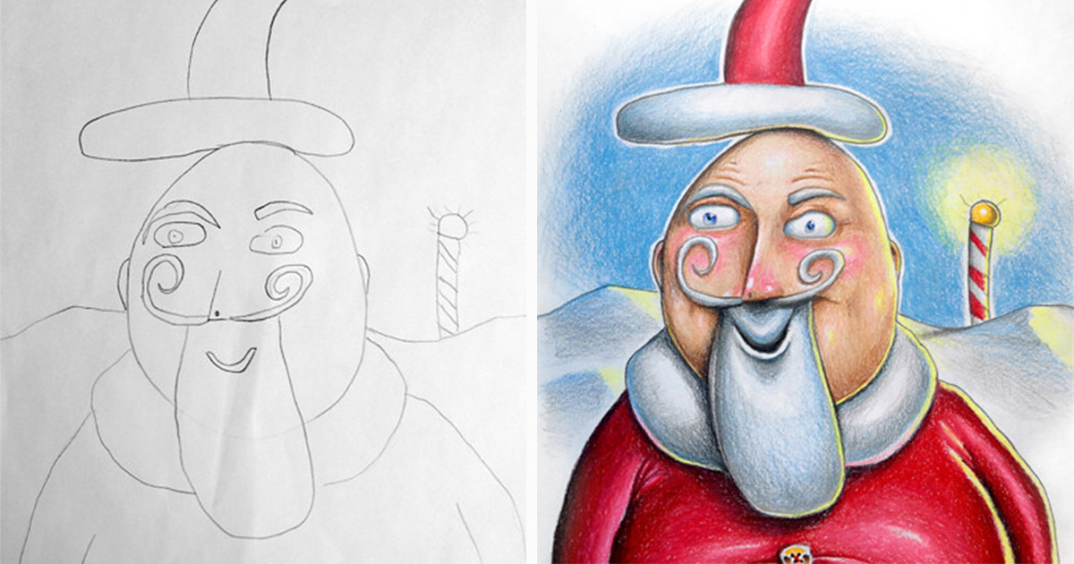 Creative Dad Colors His Kids' Drawings During His Business Trips