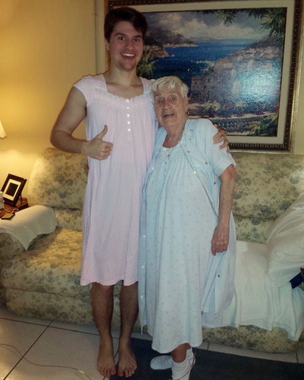 84-Year-Old Grandmother In Hospital Was Embarrased To Wear Her Nightgown So Her Grandson Wore One As Well
