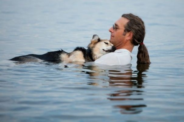 Every Evening, This Man Takes His Sick Dog To A Lake Because The Water Helps His Pain Subside