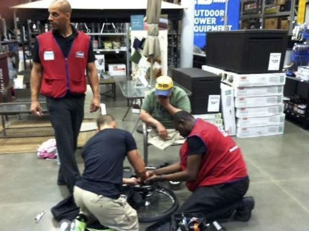 This Man's Wheelchair Broke At Lowe's Home Improvement Center And These Workers Decided To Fix It For Him