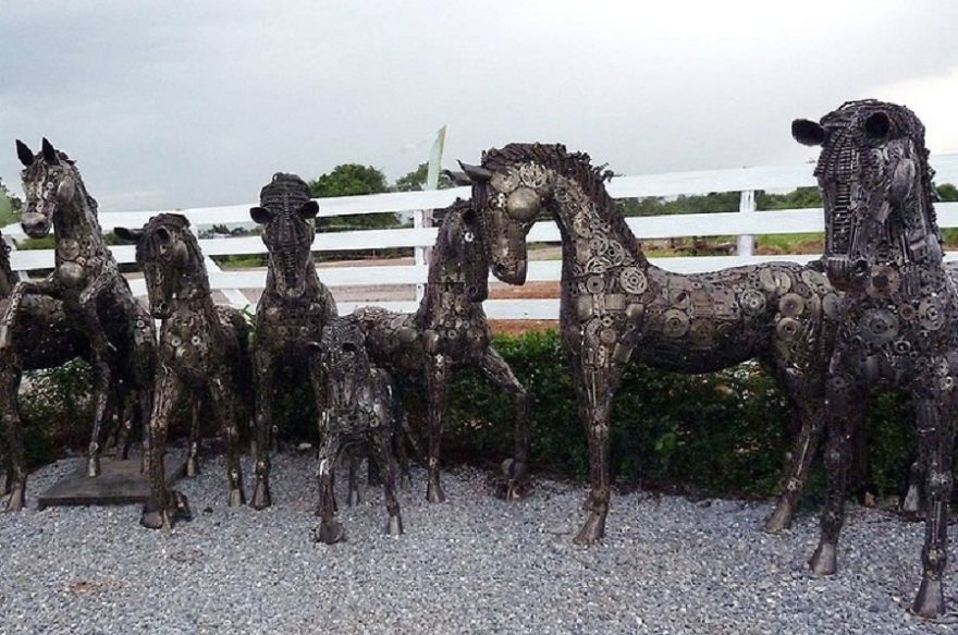 Horse Sculptures, Life Size, By Scrap Metal Art Thailand