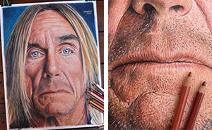I Drew Iggy Pop Portrait With Color Pencils