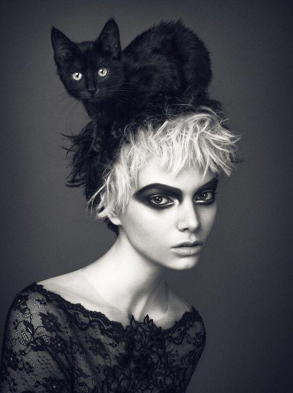 Boudoir Campaign With Hat Cat