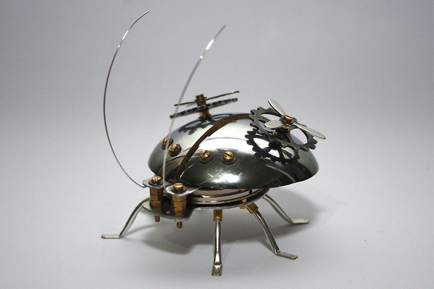 Beetle Sculpture Made From Recycled Materials And An Old Doorknob