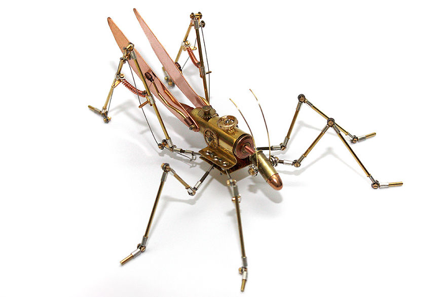 Grasshopper Sculpture Made From Recycled Materials And Deactivated Ammunition