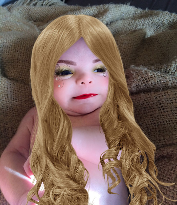 Mom Tries Out A Makeup App On Her 7-Week-Old Son