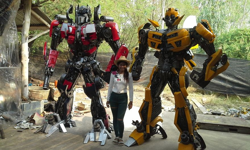 Optimus Prime And Bumblebee Statues, Life Size, By Scrap Metal Art Thailand