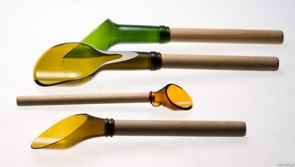 Wine Bottles Turned Into Kitchen Scoops