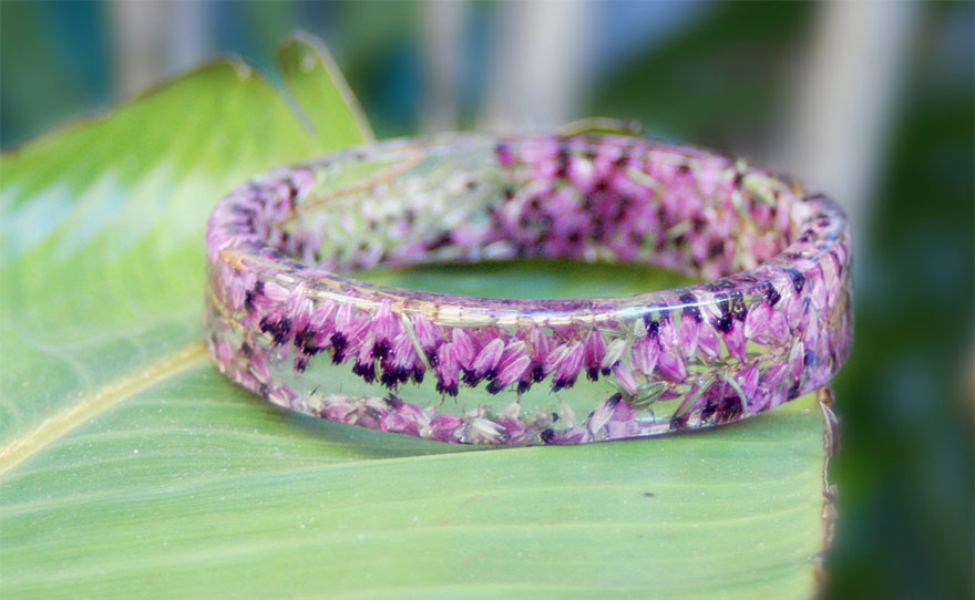 Resin Flower Moss Bangles Bracelets Modern Child